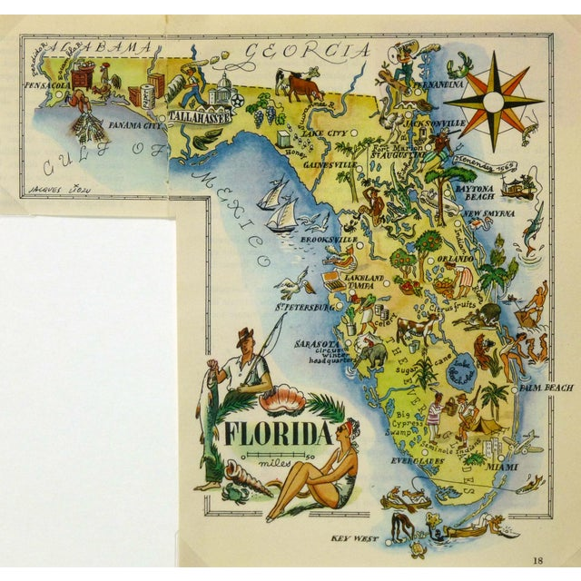 Vintage 1946 Florida Pictorial Map Frame-Ready For Sale - Image 4 of 4