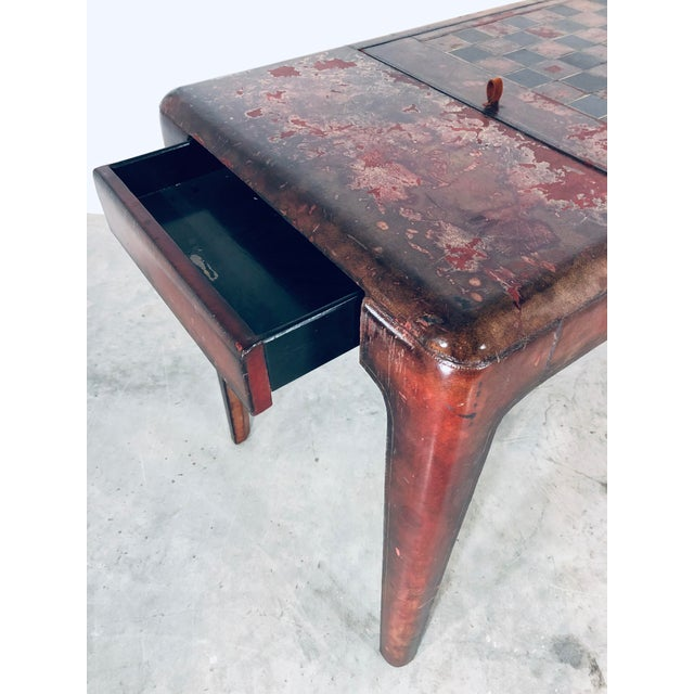 Brown Mid-Century Modern Maitland Smith Distressed Leather Game Table For Sale - Image 8 of 13