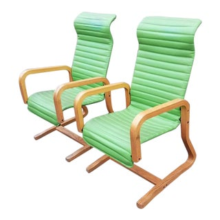 Vintage Mid Century Thonet Industries Bentwood Lime Green Retro Chairs- A Pair For Sale