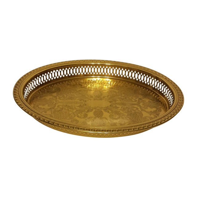 Solid Brass Pierced Gallery Oval Tray - Image 1 of 6