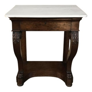 19th Century French Louis Philippe Mahogany Marble Top Console For Sale