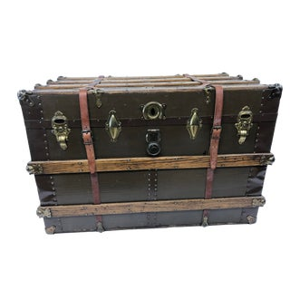 Vintage Industrial Wood Steamer Trunk With Leather Straps For Sale