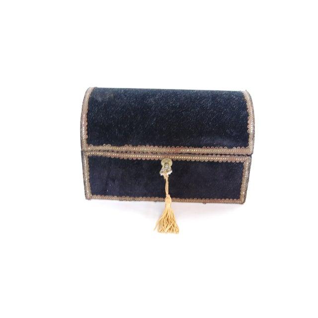 Antique French Black Velvet Jewelry Chest - Image 5 of 5
