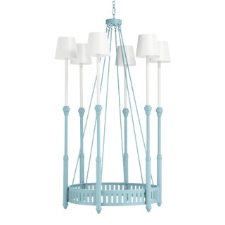 Camilla Chandelier, Blue Stream with White Shades For Sale