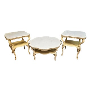 3 Piece Set French Louis XV Ogee Beveled Marble Top Coffee + 2 End Side Tables For Sale
