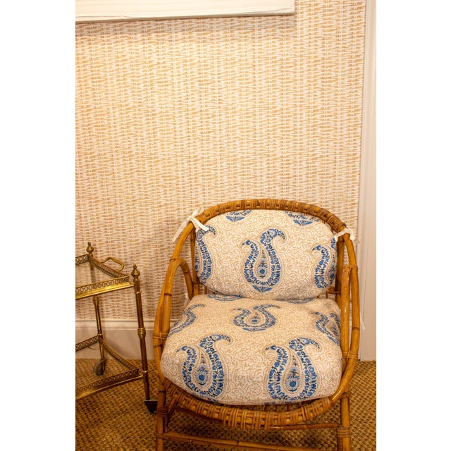 Vintage Rattan and Bamboo Armchairs- a Pair For Sale - Image 4 of 7