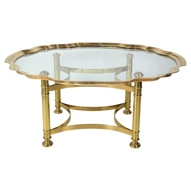 Scalloped Brass & Glass Cocktail Table - Image 1 of 8