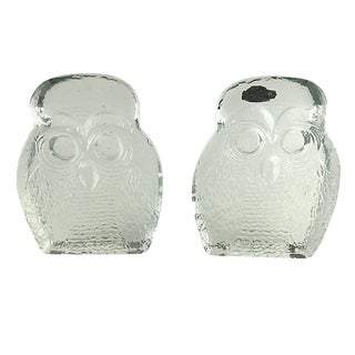 Blenko Clear Glass Owl Bookends - a Pair For Sale