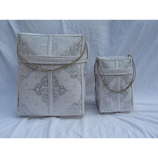 Balinese White & Silver Offering Baskets - A Pair - Image 2 of 7