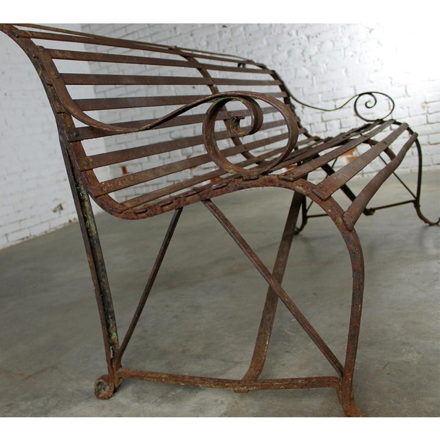 Antique 19th Century Forged Strap Iron Garden Bench For Sale - Image 4 of 10