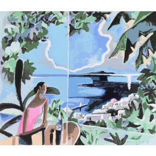 'Mimosa Tree Restaurant, Santorini, Greece' by Yoshito Hirano, Agaean Sea, Japanese Artist For Sale
