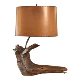 Solid Driftwood Lamp With Shade For Sale