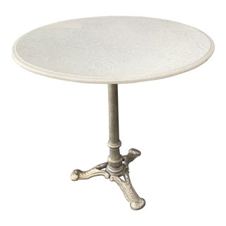 French Provoncial Marble Top Brushed Nickle Base Cafe Style Round Table For Sale