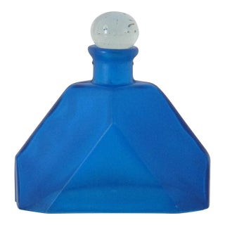 Faceted Blue Glass Decanter