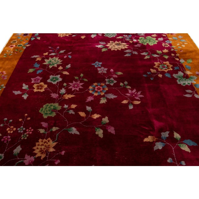 Early 20th Century Early 20th Century Antique Art Deco Chinese Wool Rug 9 X 11 For Sale - Image 5 of 13