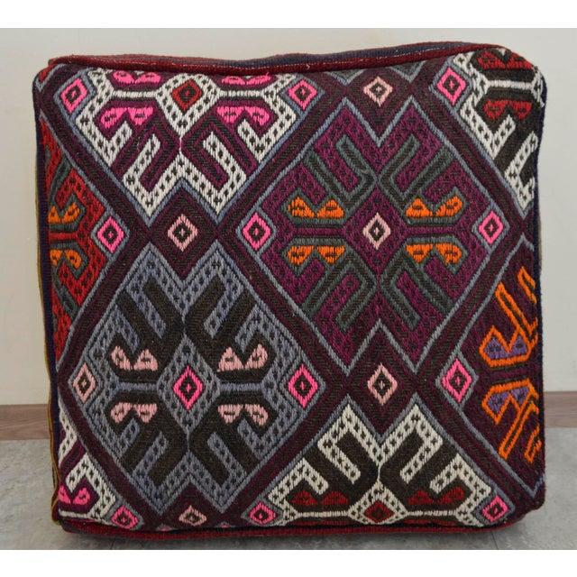 Turkish Hand Woven Kilim Floor Cushion Cover - Image 5 of 6