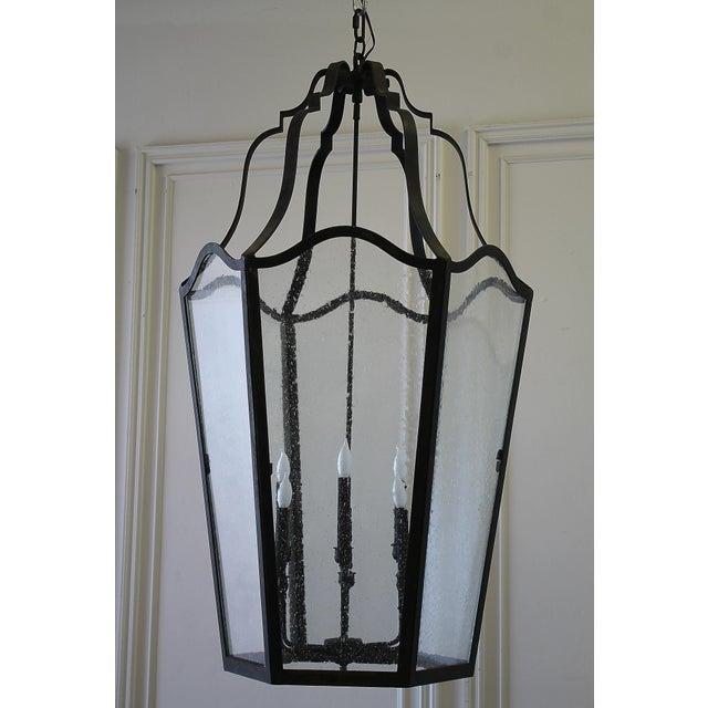 Custom Made Iron Lantern Chandelier For Sale - Image 10 of 12