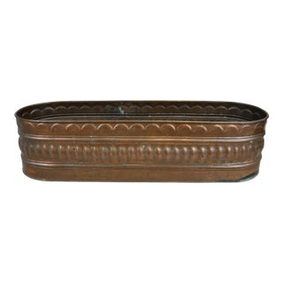 Antique Vintage Copper Planter Pot Holder Carved Rectangular Tub