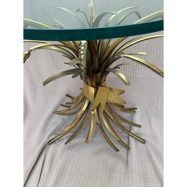 French Provincial Vintage French Provincial Wheat Sheaf Glass Side Table For Sale - Image 3 of 13