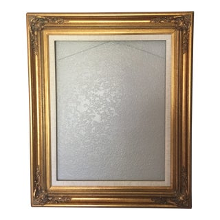 Hollywood Regency Gold Gild Scallop Edge Frame With Linen Mat For Sale