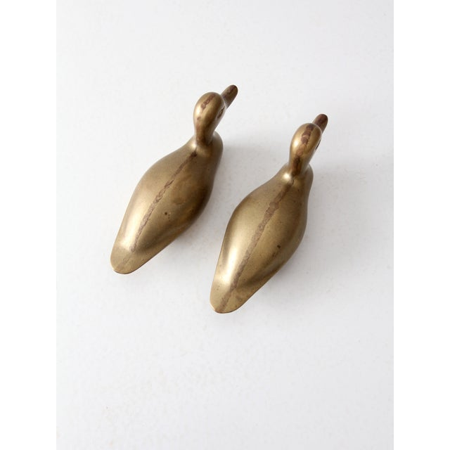 Gold Mid-Century Brass Ducks - Pair For Sale - Image 8 of 9
