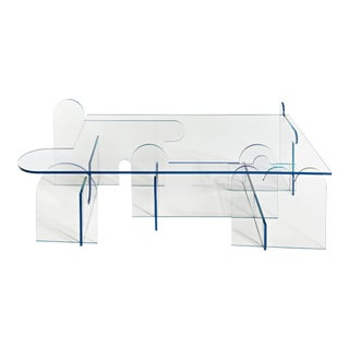 Phaedo Lexan Clear Lexan With Blue Oil Painted Edge Coffee Table