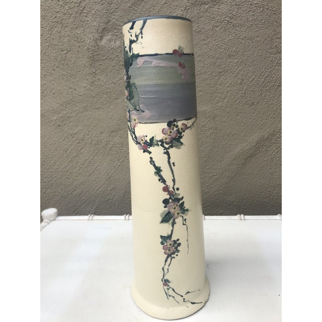 "Elegant early Weller Hudson Vase. Approximately 12"" in height and 4"" diameter at base. Hand decorated, apple blossom..."