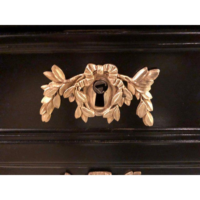 Ebony Louis XVI Inspired Ebonized Leather Top Bronze-Mounted Desk For Sale In New York - Image 6 of 10