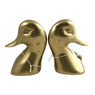 Vintage Mid-Century Modern Brass Curved Duck Head Bookends - a Pair For Sale