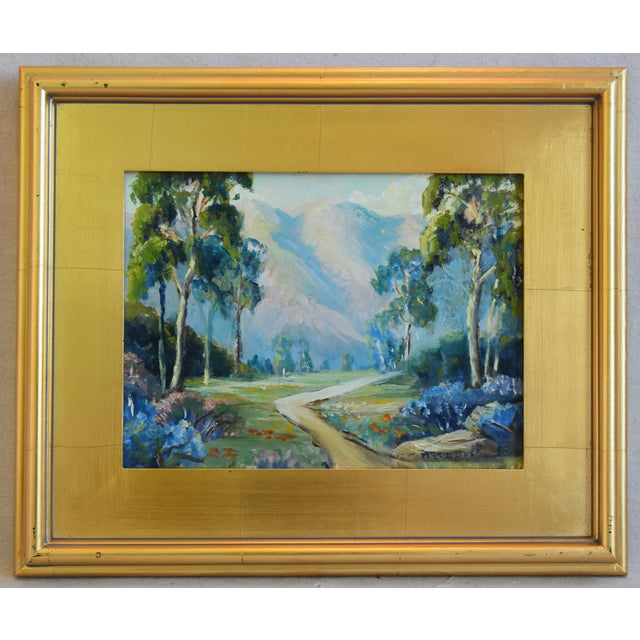 Blue Artist Marie Buck Plein Air Framed Landscape Oil Painting For Sale - Image 8 of 9