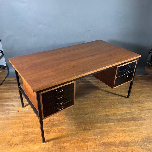 Mid-Century Modern Mid-Century Teak & Black Lacquer 7-Drawer Desk For Sale - Image 3 of 11