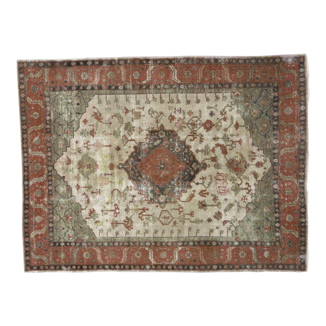 Distressed Antique Turkish Sparta Rug - 08'08 X 11'06 For Sale