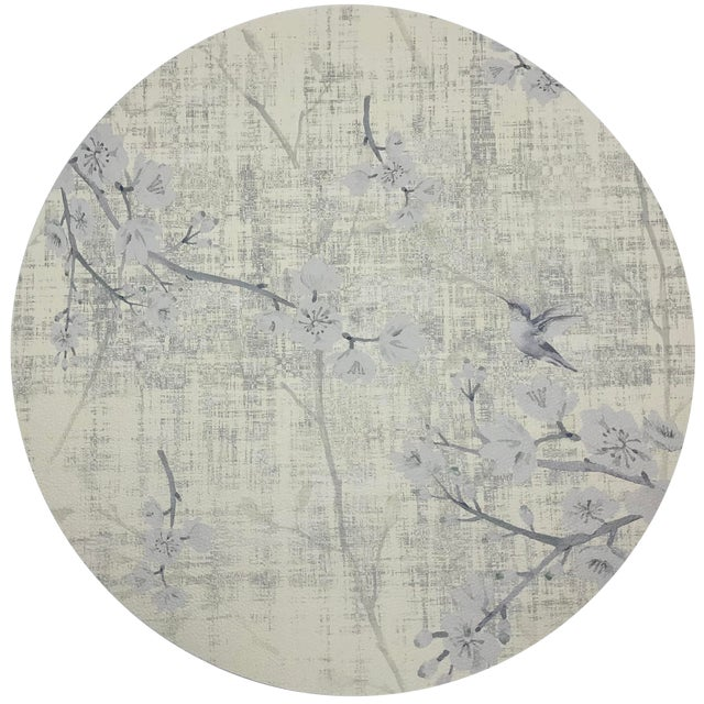 "Nicolette Mayer Blossom Fantasia Ivory 16"" Round Pebble Placemat, Set of 4 For Sale"