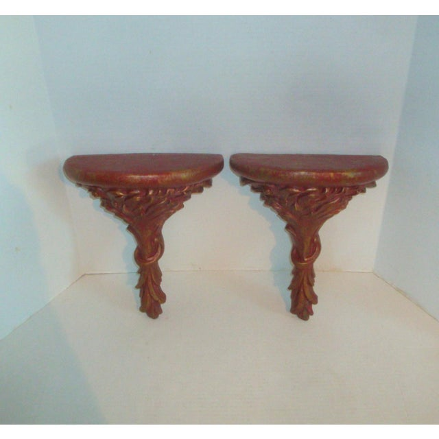 French Extra Tall Wall Corbels Red and Gold Plaster Brackets For Sale - Image 3 of 9