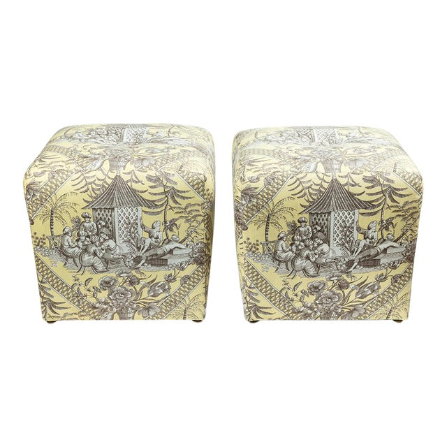 0f Chinoiserie Toile Ottomans - a Pair For Sale
