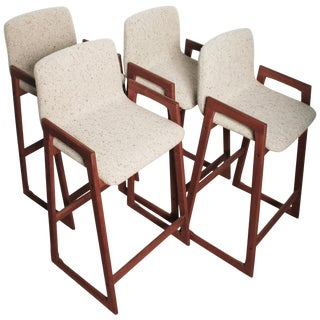1960s Danish Fully Restored Teak Bar Stools - Set of 4 For Sale