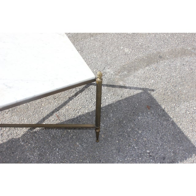 Long Maison Jansen Coffee Or Cocktail Table Bronze Rectangular With Marble Top Circa 1940s - Image 10 of 11