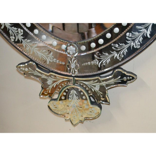 Glass Venetian Etched Glass Wall Mirror, Circa 1940 For Sale - Image 7 of 8