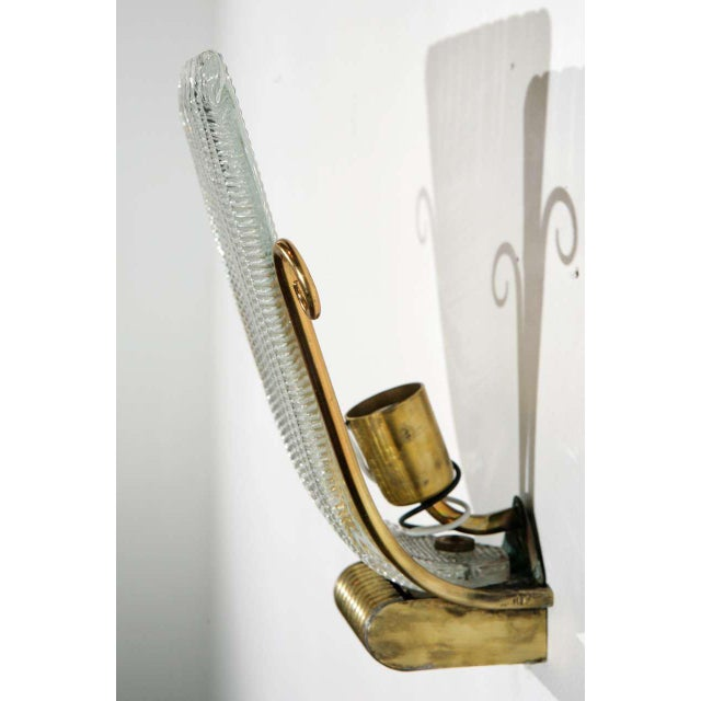 Metal 1950s Brass and Rippled Murano Glass Wall Sconces - a Pair For Sale - Image 7 of 10