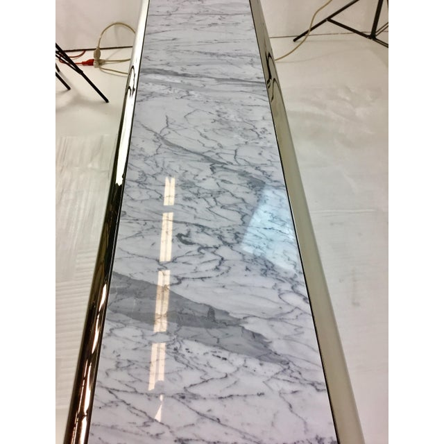 Contemporary Caracole Chrome and Carrara Marble Magnificent Console Table For Sale - Image 3 of 5