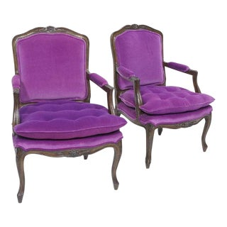 Carved French Style Arm Chairs - a Pair For Sale