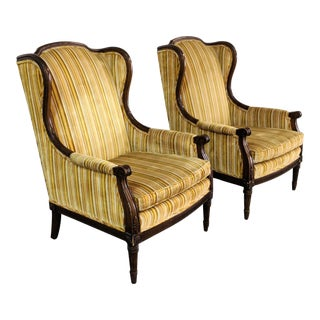Pair of French Country Velvet & Carved Dark Walnut Wingback Chairs For Sale