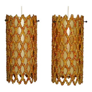 Pair of Mid-Century Modern Resin Lattice Pendants 1960s For Sale