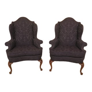 Southwood Blue Damask Upholstered Wing Chairs - a Pair For Sale