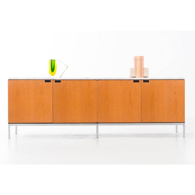 1960s Florence Knoll White Oak Credenza With Carrara Marble Top For Sale - Image 5 of 11