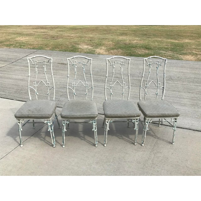 1960s Mid-Century Modern Kessler Industries Cast Aluminum Faux Bamboo Dining Set - 5 Piece Set For Sale - Image 10 of 12