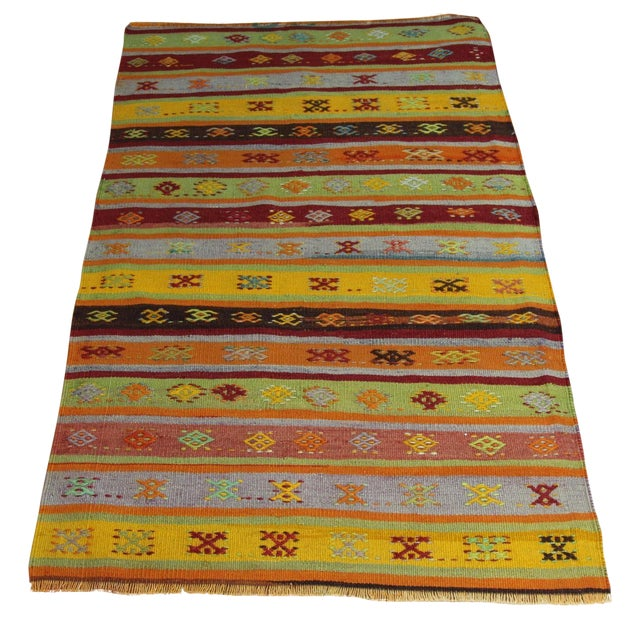 Turkish Handmade Anatolian Kilim Rug - 1′9″ × 3′5″ - Image 1 of 6