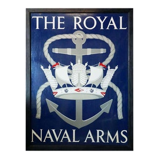 "Vinage English Pub Sign, ""The Royal Naval Arms"" For Sale"