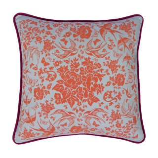 "Swallow Garden Velvet Back 20"" Pillow For Sale"