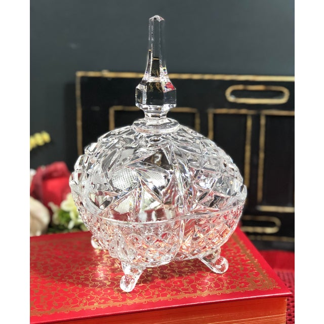 This is for a lovely vintage Crystal cut Candy Dish that is lidded with a steeple top as the lids handle. It sits on top...